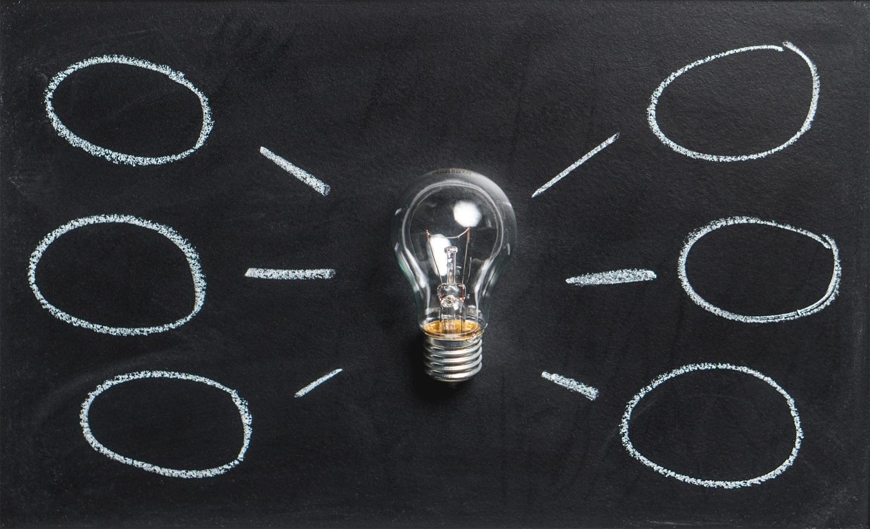 Lightbulb on chalkboard with ideas