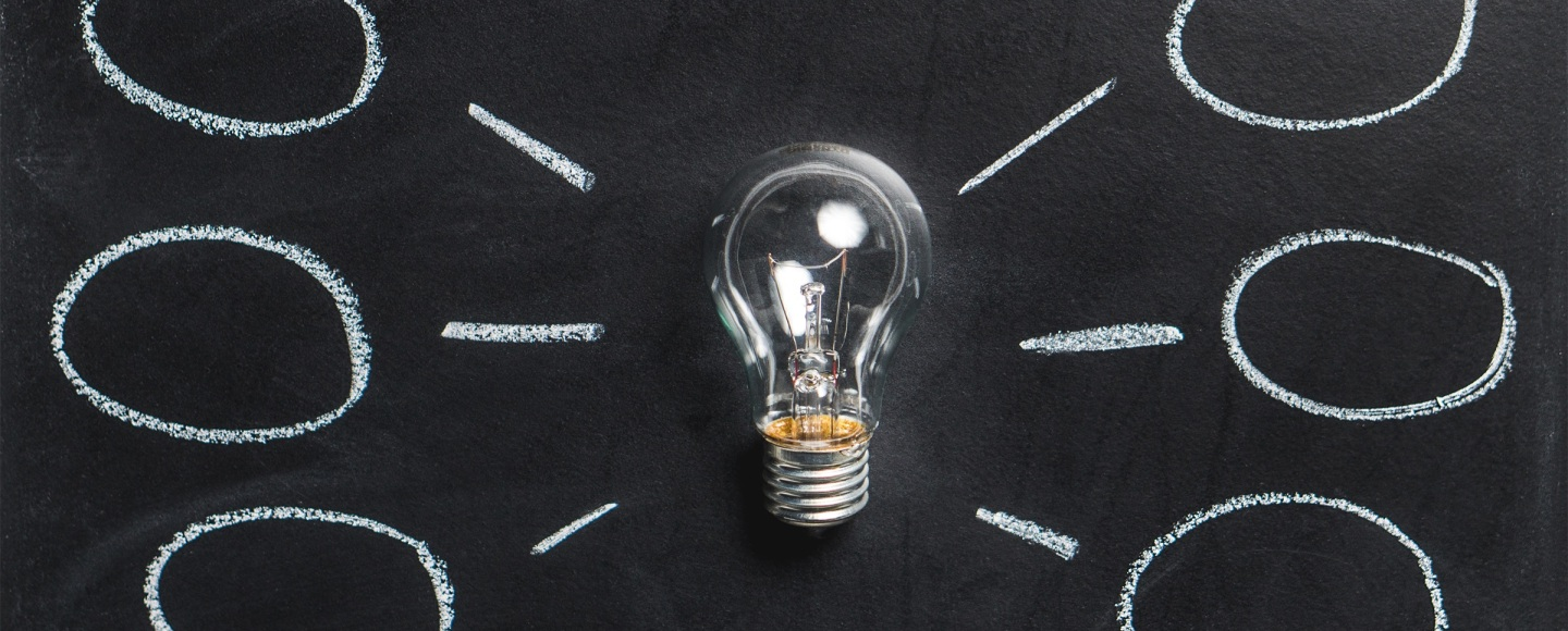 Lightbulb on chalkboard with ideas