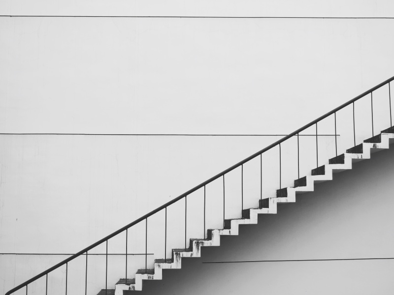 Black and white photo of stairs