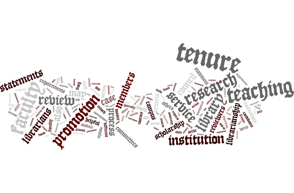 word cloud describing the tenure process
