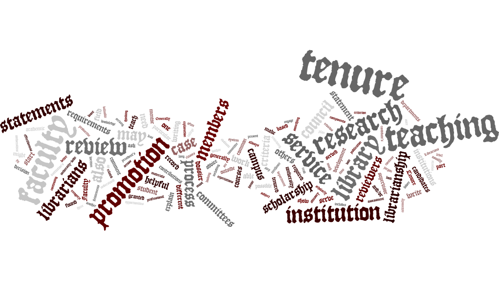 word cloud describing the tenure process