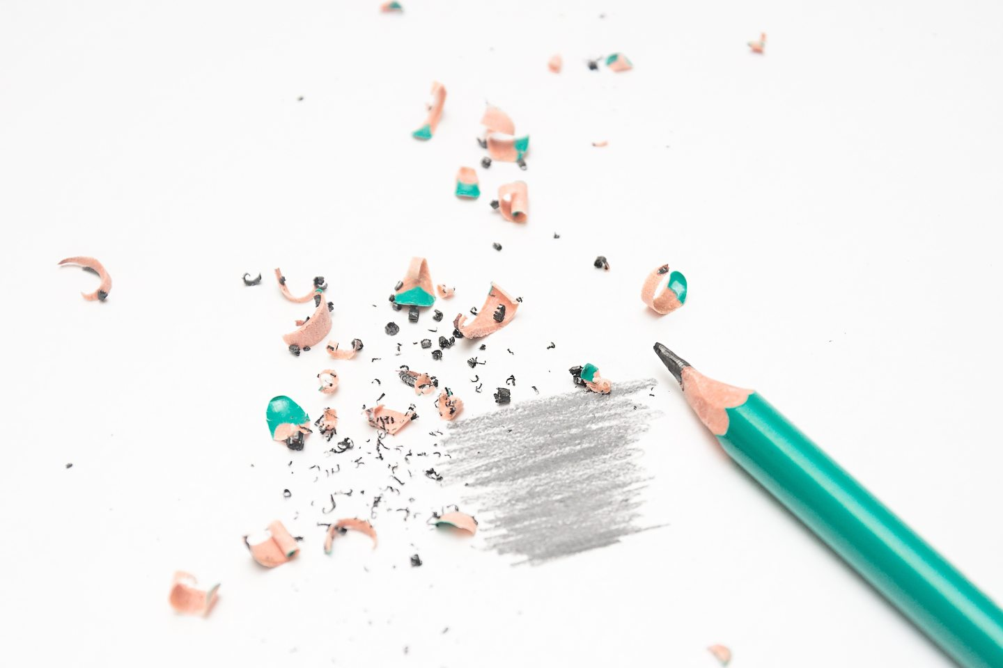 A piece of paper with shavings from a pencil