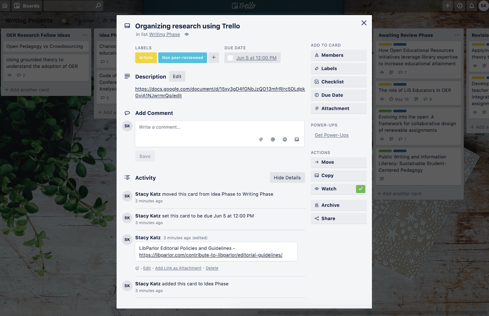 A screenshot of a Trello card with labels, the description, and activity.