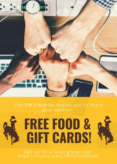 "An advertisement of the focus group recruitment materials. A stock picture of five hands coming together. The bottom half of the image says, ""The UW Libraries invites you to share your opinion. Free food and gift cards!"""