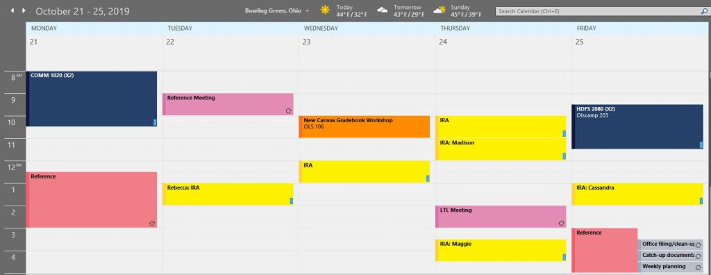 screenshot of Outlook calendar using color-coded categories