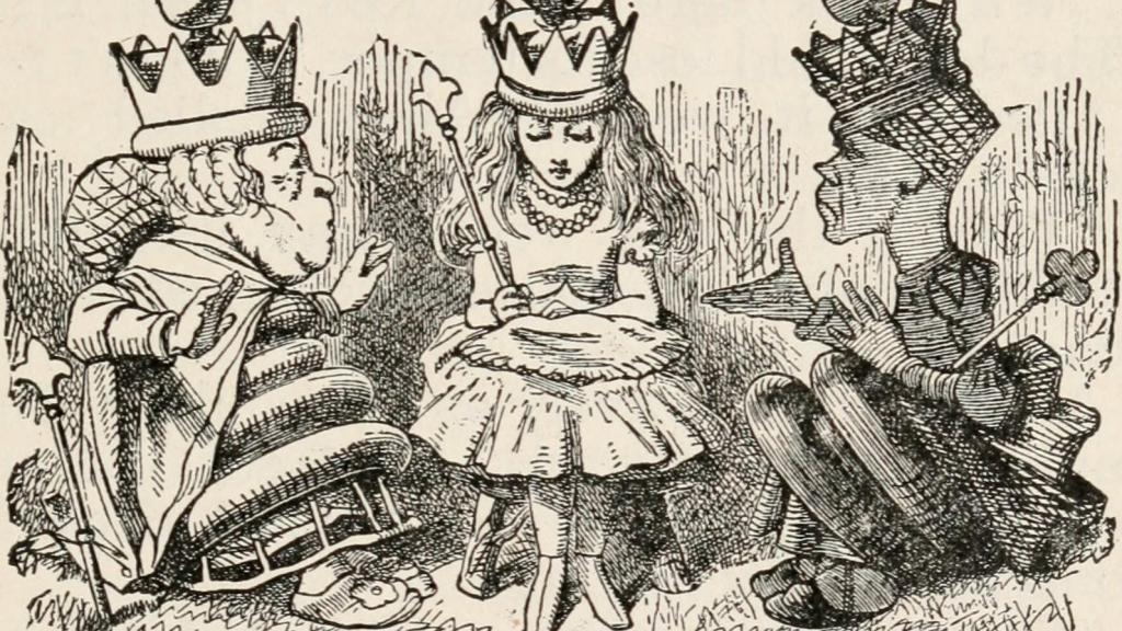 A drawing of Alice in Wonderland, in the middle, with two kings on either side of her