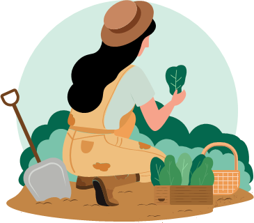 A woman is crouching down in a garden, their back to us, holding a plant in their hand